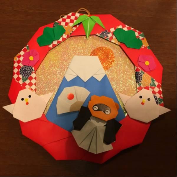 折り紙リース*たぬきとニワトリと富士山*壁飾り/お正月