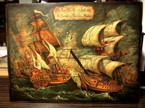 帆船 アルマダ/グラヴリンヌ沖海戦図 蘭英の戦い 1588年(自然、風景画 ...
