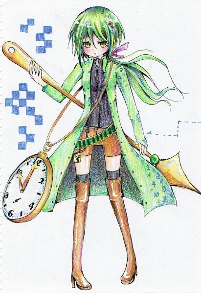 手書きイラスト○オリジナル/女の子/色鉛筆/時計モチーフ_1