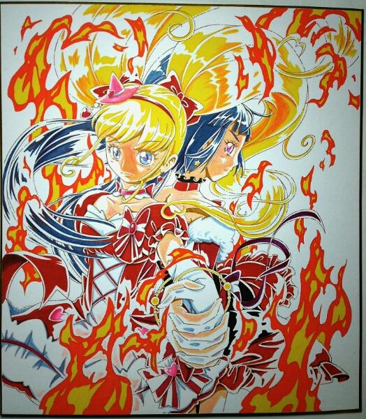 手描き色紙イラスト同人プリキュアルビースタイル手描きイラスト