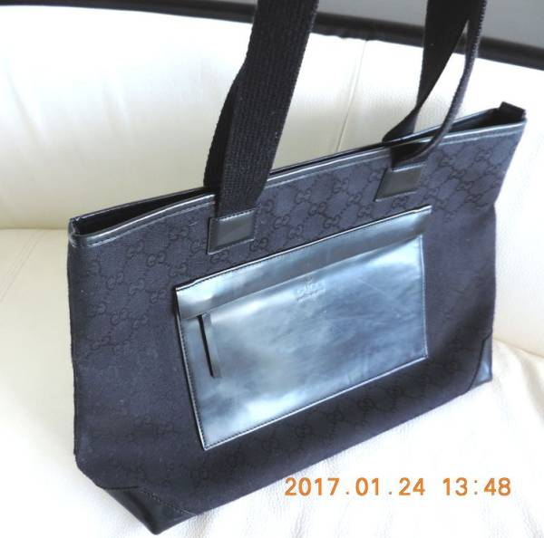 174591995778 1円 □格安セール□ Gucci グッチ GGキャンバス トートバッグ ブラック 黒 かばん 鞄