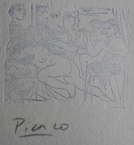 パブロ・ピカソ/エッチング8/直筆サイン/オルセー美術館認証印_
