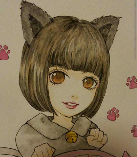 自作イラスト 手描き似顔絵チャルメニャ 広瀬すず 猫耳 女の子