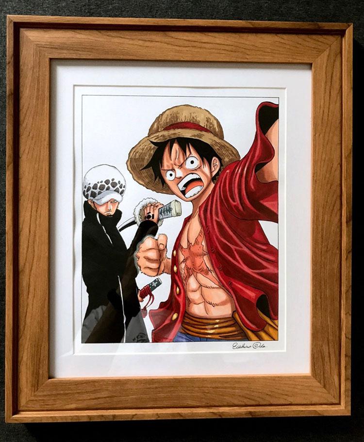One Piece ワンピース イラスト 複製原画 直筆サイン 入り ルフィとロー