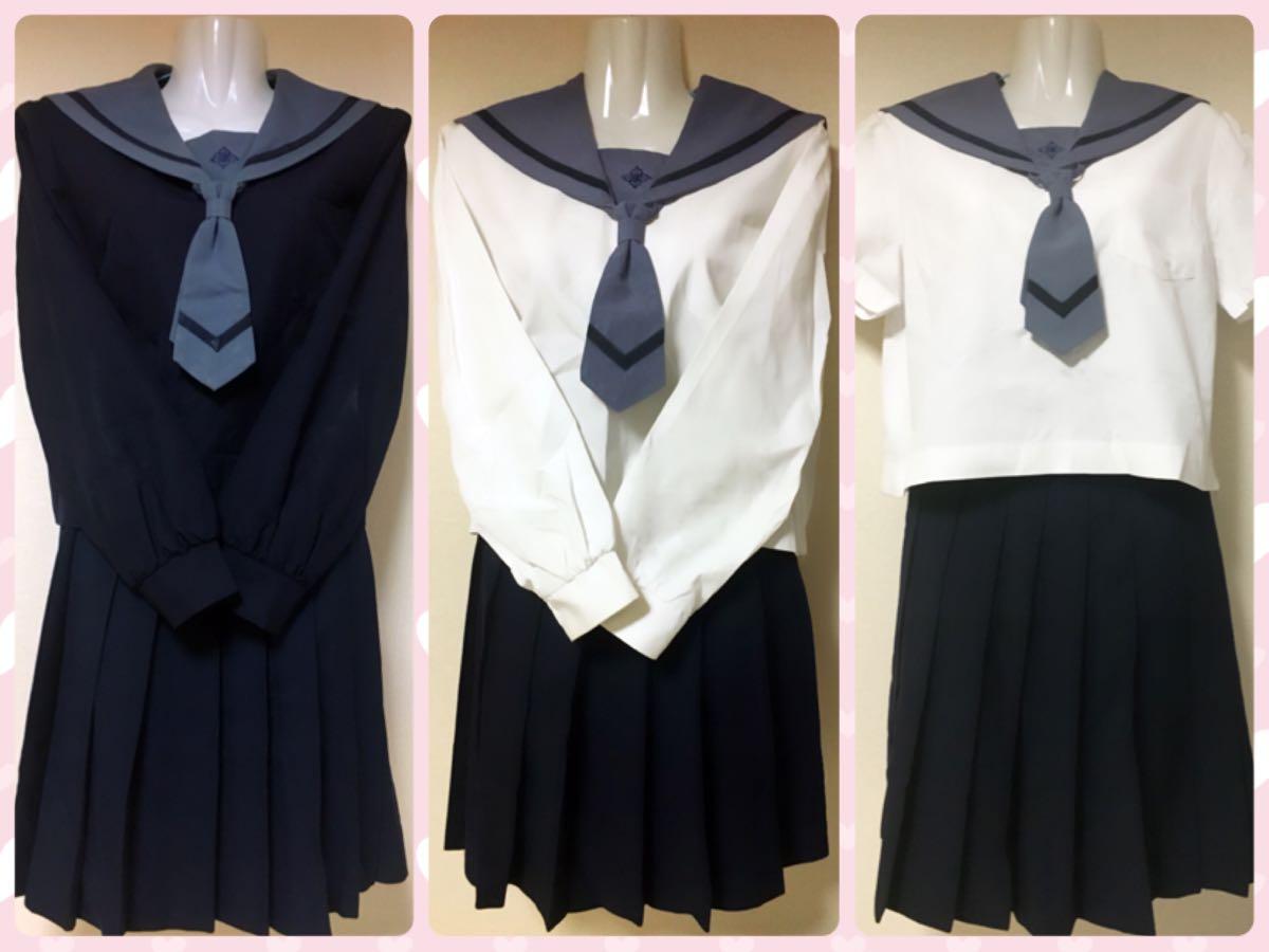 青森県八戸市立北稜中学校の女子制服 セーラー服 冬中間夏服
