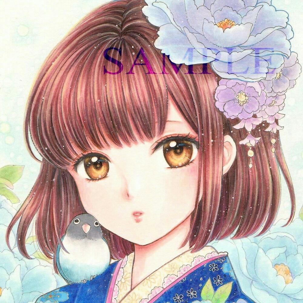 オリジナル手描きイラスト 着物の女の子 青牡丹手描きイラスト売買
