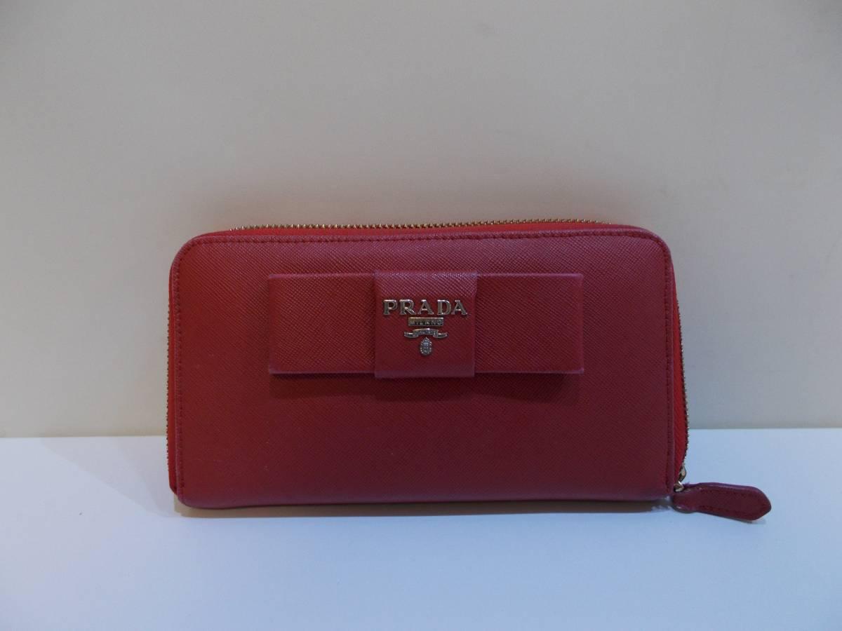 quality design ac69e 0b783 PRADA プラダ 長財布 赤 レッド リボン ファスナー(女性用財布 ...