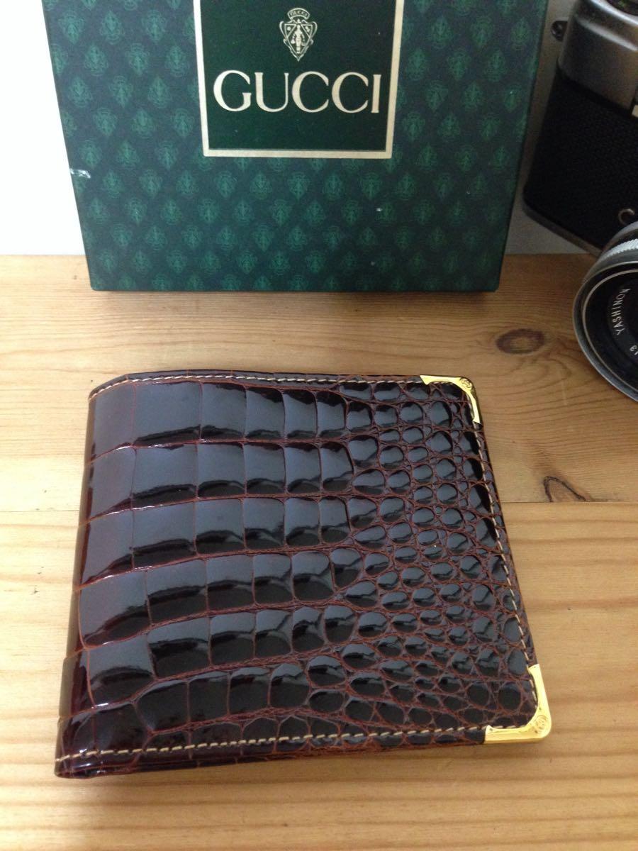 521727a7ff6b 本物超 グッチ old gucci クロコダイル 二つ折 財布(女性用財布) 売買 ...