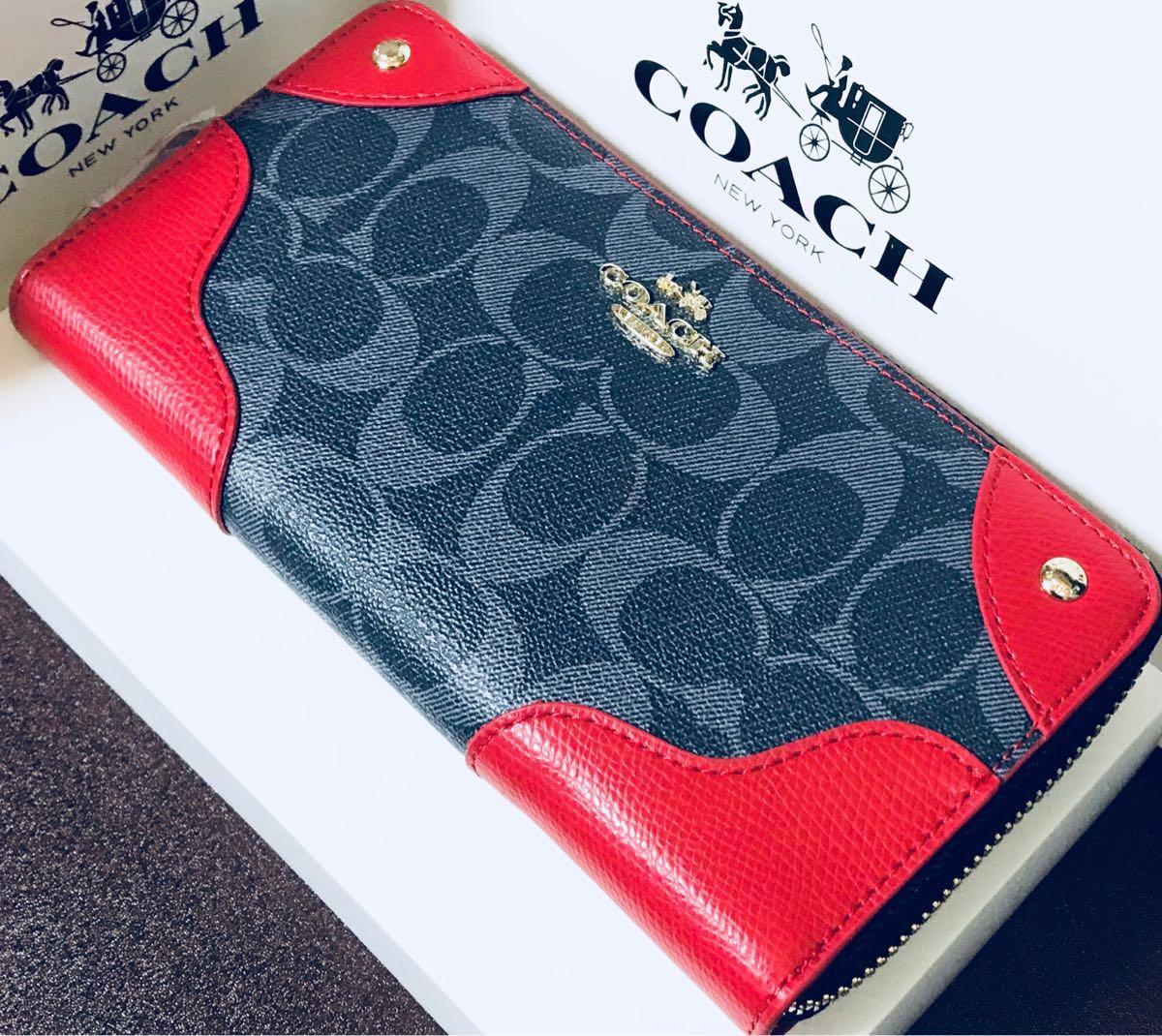hot sale online 2cdf2 55121 COACH 長財布 赤 ワインレッド シグネチャー柄 レザー 正規品 ...