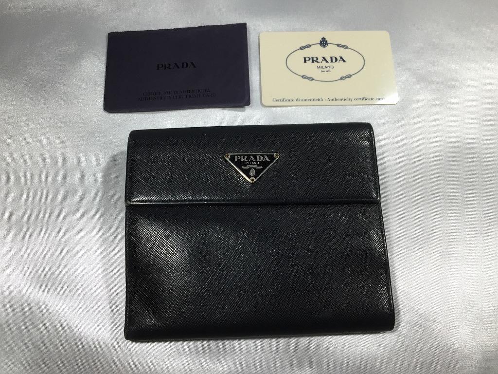 93297d7656ea PRADA プラダ サフィアーノ M172A Wホック財布 ブラック カード付(男性 ...