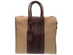 2110067e1214 グッチ GGキャンバス クロコ ハンド ボストン バッグ 旅行鞄 メンズ ベージュ 0344【中古