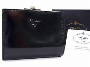 c53b3c002d30 1円 □極美品□ PRADA プラダ ロゴ レザー がま口 二つ折り 財布 ウォレット 小銭入れ 札