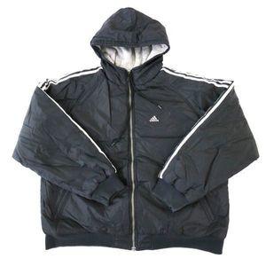 81690b780e9ad adidas アディダス 中綿 ナイロン スウェット リバーシブルジャケット 黒白×グレー (XL)
