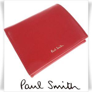 c3a9dfba8f01 新品☆ポールスミス Paul Smith 本革 牛革レザー 二つ折り財布 バンド レッド ロゴ 赤 正