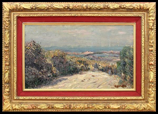 ギュスターヴ・ロワゾー 『人物のいる風景』 油彩 8号 鑑定証有