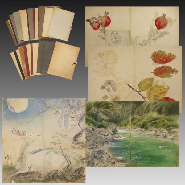 喜聞◆日本画家 スケッチブック 17冊 古筆日本画 デッサン下絵帳