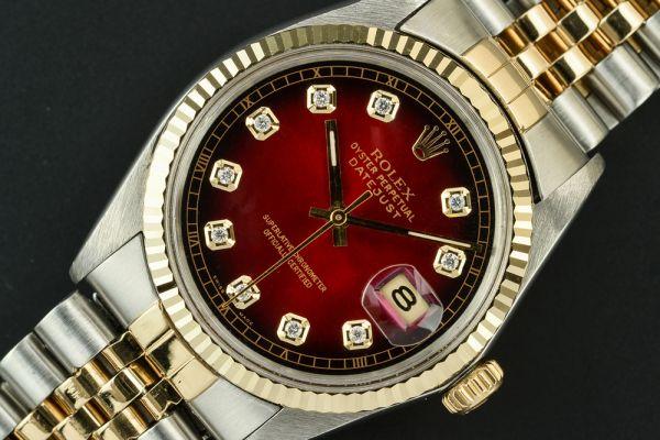 人気◆ロレックス デイトジャスト 赤グラ 純正18金ベルト ROLEX