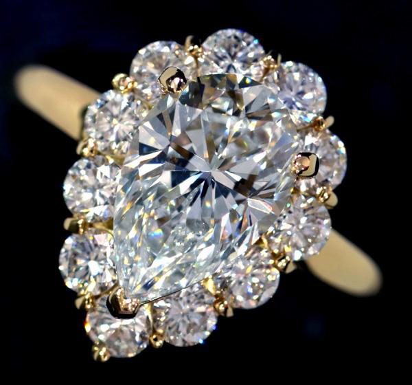E4008 大粒絶品ダイヤ2.063、0.91ct H SI1 最高級18金セレブR