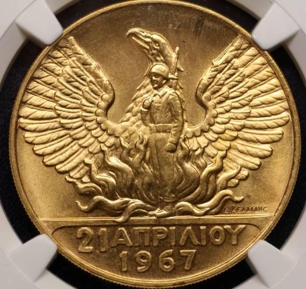 1円~NGC MS67!! ギリシャ 革命記念 100ドラクマ金貨 1970
