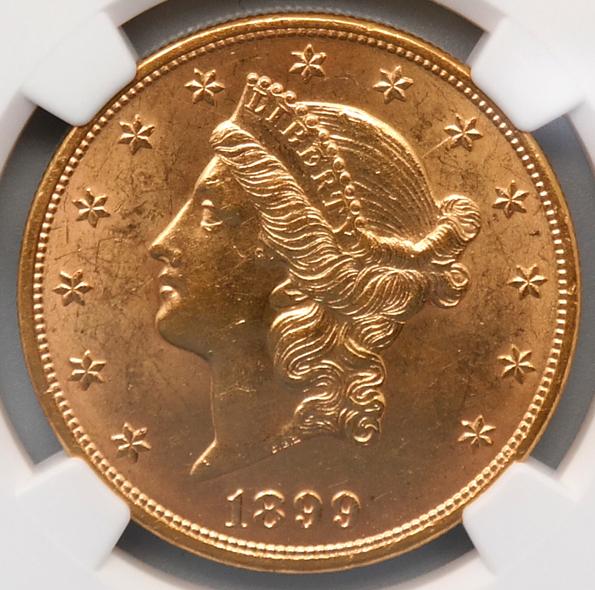 アメリカ 1899年 リバティヘッド$20ドル 金貨 NGC:AU