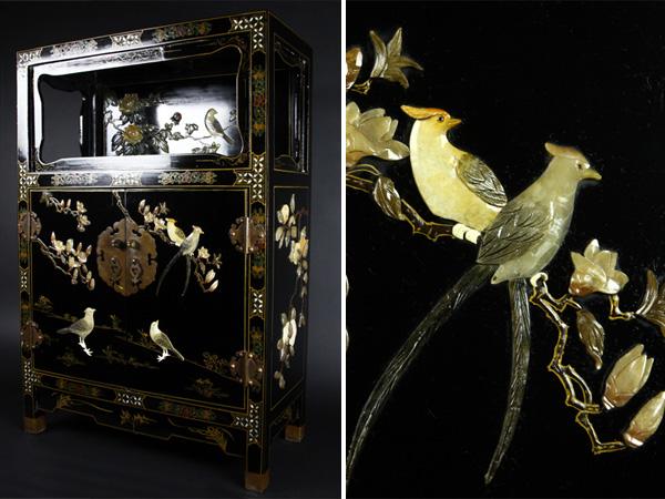 【魁】中国古美術 玉石細工 黒漆 螺鈿 花鳥図 飾り棚 小箪笥