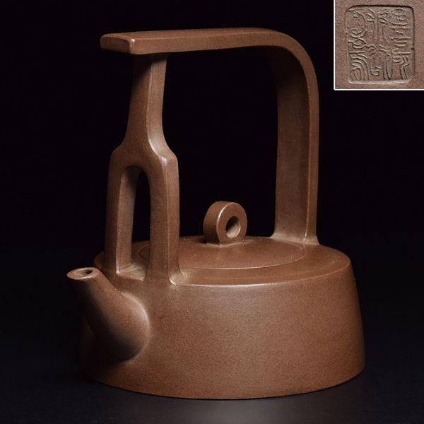 【在款底詩刻提梁紫砂壺】 中國宜興紫砂唐物煎茶道具茶壺朱泥