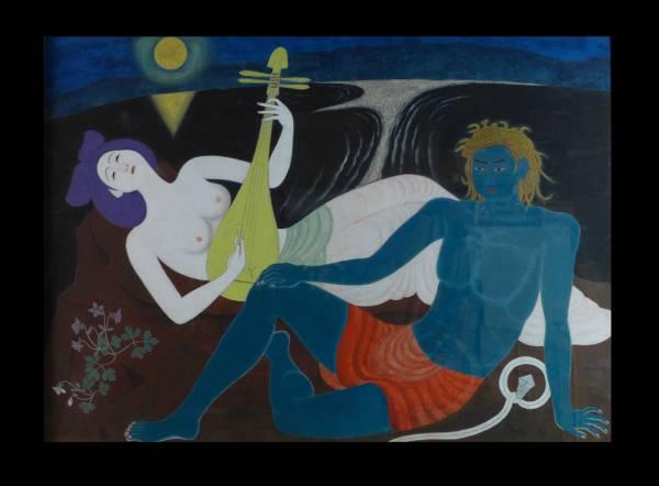 日本画家 小谷津任牛 昭和30年第40回院展出品作「江島縁起」