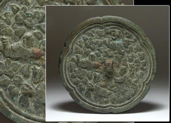 ∇花∇中国古美術 海獣葡萄文古銅鏡