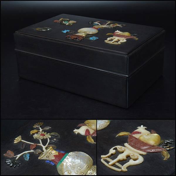 【蒼】中国美術 唐木紫壇製 玉石装飾 寶尽図 盒子 古玩 SAXQ